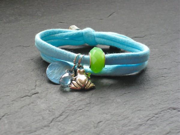 Wowzers Charmlet - Jersey Armband - Frosch in Aqua