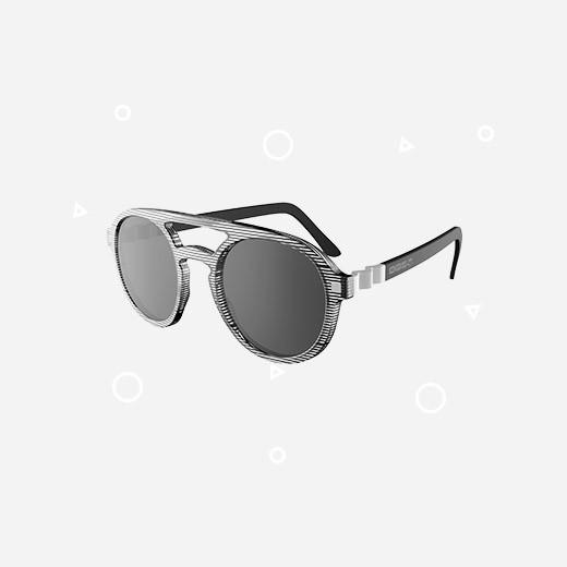 KiETLA Kinder-Sonnenbrille BuZZ (UV-Schutz 3) mit getreiftem Rahmen