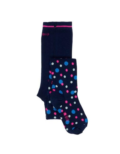 LE BIG Piper Strumpfhose – Bio Baumwolle – Dunkelblau mit Pink & Blau Punkte