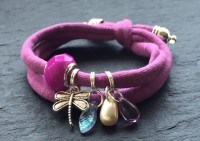 Wowzers Charmlet - Jersey Armband - Libelle in Orchid Pink