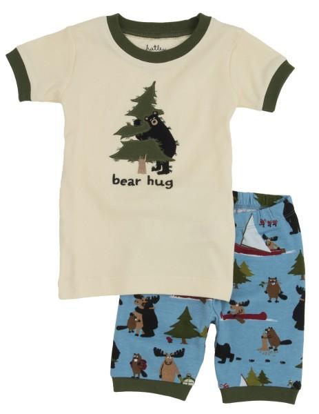 Little Blue House Kurzarm Pyjama in Blau - Bear Hug - Bär