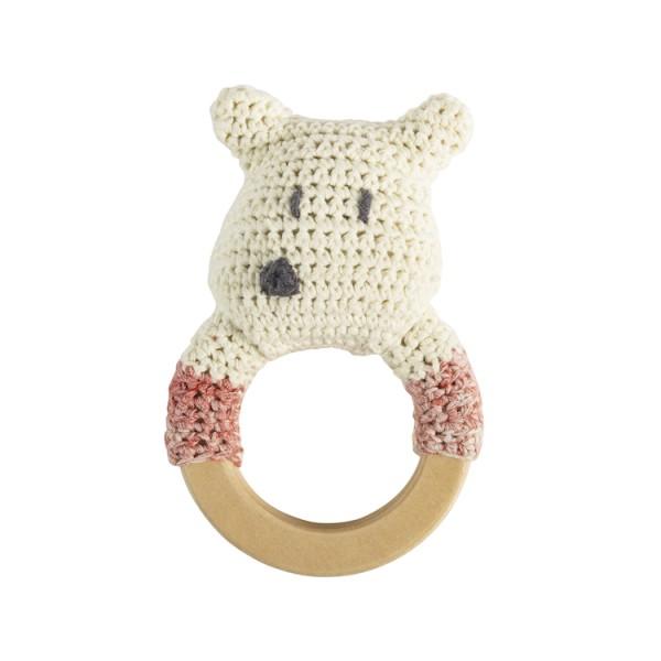 Sebra Handmade Häkelrassel-Ring Eisbär