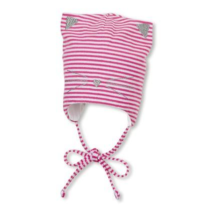 Sterntaler Jersey Mütze - Pink Gestreift Katze