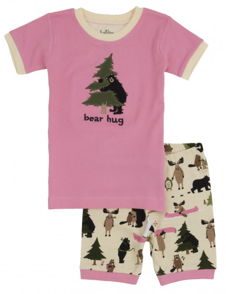 Little Blue House Kurzarm Pyjama in Rosa - Bear Hug - Bär