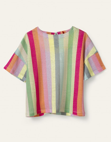 Oilily Taal Kurzarm Strick Bluse mit Regenbogen Streifen