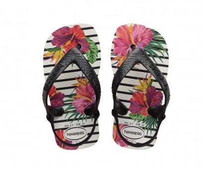 Havaianas Baby Flip Flops - Tropical Blumen schwarz & weiss