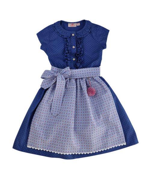 Trachtenkind München Dirndlkleid blau Tupf mit Schürze rot-blau Vichy Mädchen