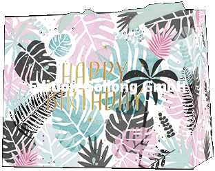 Edition Gollong Geschenktasche Happy Birthday Pastell Palmenblätter - Medium