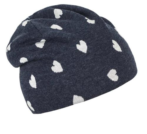 Sterntaler Slouch Beanie Mütze in Marineblau mit Herzen