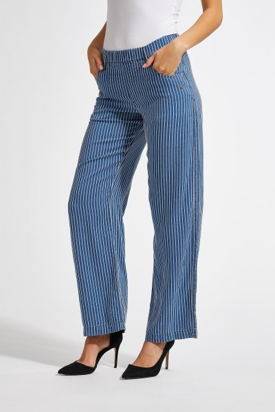 Laurie Donna Hose - Blau Gestreift - Relaxed Fit
