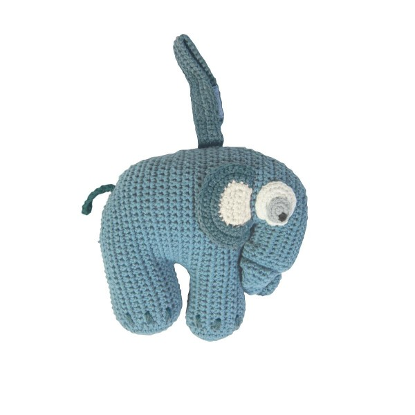 Sebra Spieluhr Elefant in blau - Handmade