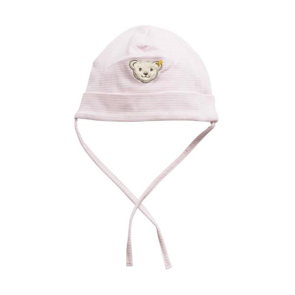 Steiff Jersey Mütze Rosa & Weiß Gestreift mit Bänder