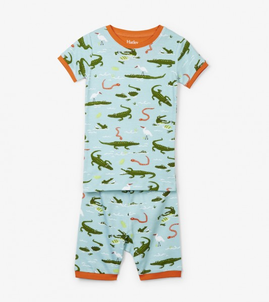Hatley Kurzarm Pyjama - Alligatoren