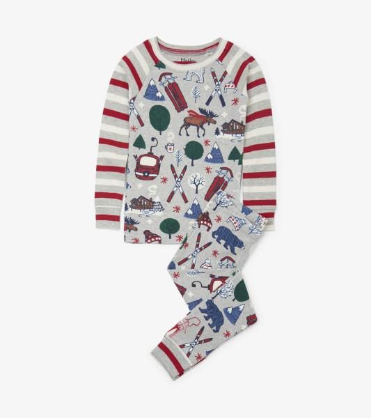 Hatley Langarm Pyjama - Bio-Baumwolle - Ski Bären
