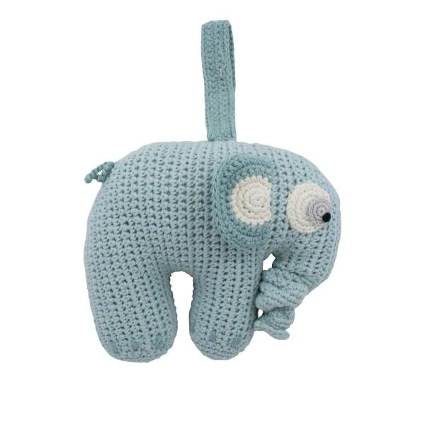 Sebra Spieluhr Elefant in mint - handgefertigt
