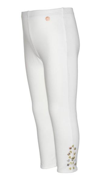 Mim-Pi Capri Legging in weiß mit Glitzer Steine
