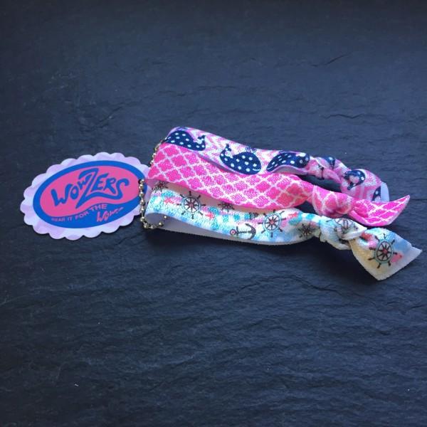 Wowzers Hair Ties Set von 3 Armbänder / Haargummis - Preppy Whales