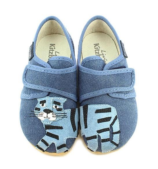 Living Kitzbühel Baumwolle Hausschuhe - Blauer Tiger
