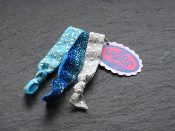 Wowzers Hair Ties Set von 3 Armbänder / Haargummi - Türkis Glitzer