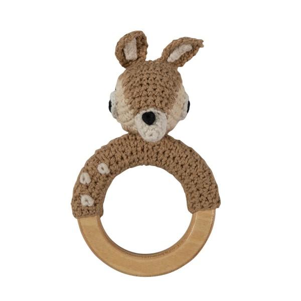 Sebra Handmade Häkelrassel-Ring Bambi in braun