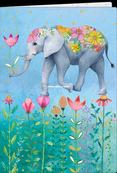 Edition Gollong Notizbuch A5 - gepunktet - Elefant