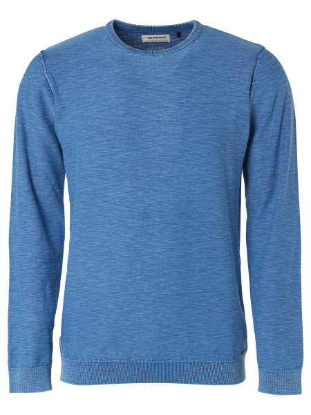 NO EXCESS Pullover Rundhals in Stone Washed Blau