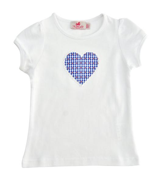 Trachtenkind München Kurzarm-Shirt mit Herz in rot-blau Vichy