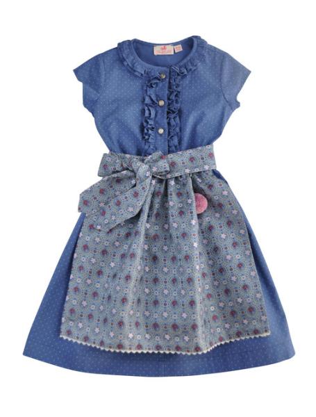 Trachtenkind München Festtags Dirndlkleid blau Tupf mit Blüten-Festtagsschürze Mädchen