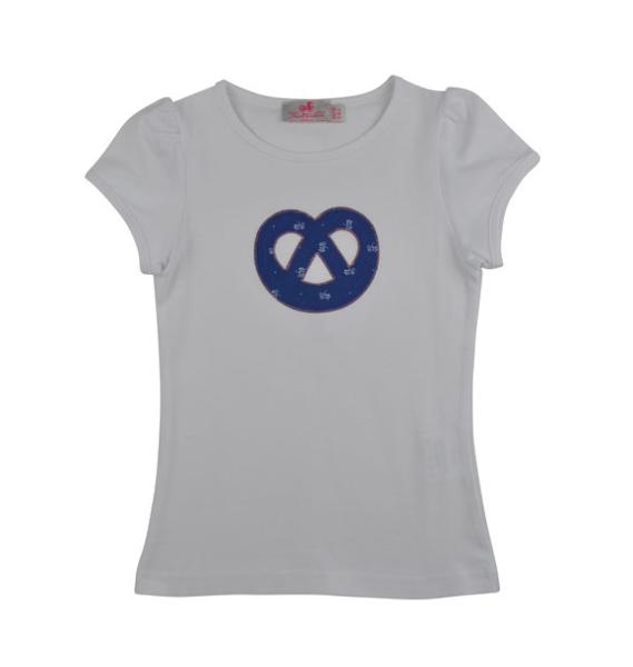 Trachtenkind München Kurzarm-Shirt mit Breze in blau Blümchen