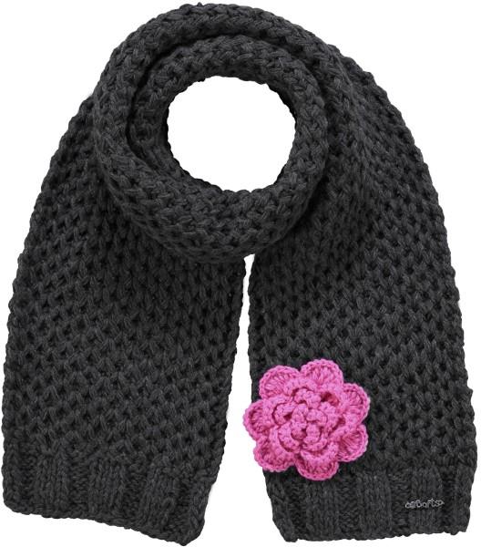Barts Kids Rose Schal dunkel Grau mit Blume in Pink