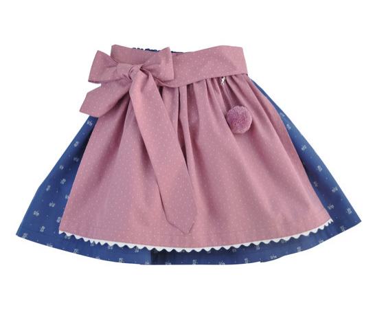 Trachtenkind München Trachtenrock blau Blümchen mit puderrosa Tupf-Schürze Mädchen