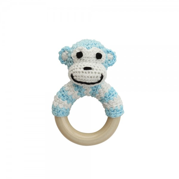 Sindibaba Bambus Häkel-Rasselring Affe in Hellblau/Weiß gestreift