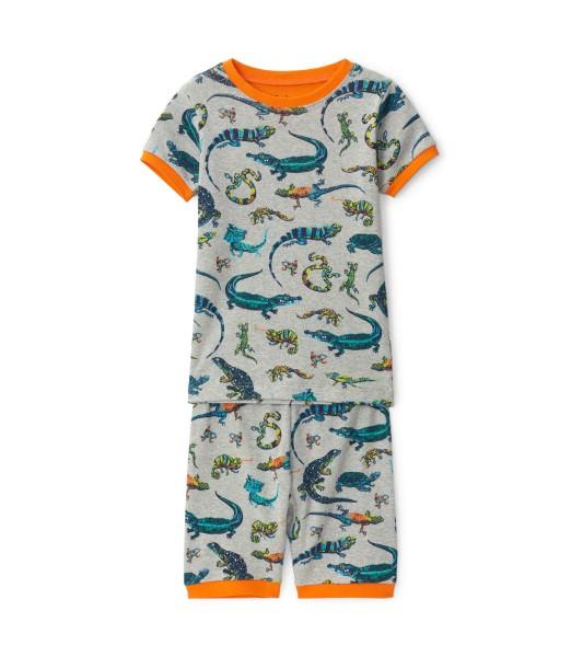 Hatley Kurzarm Pyjama - Bio Baumwolle - Reptilien