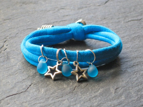 Wowzers Charmlet - Jersey Armband - Sterne in Türkis