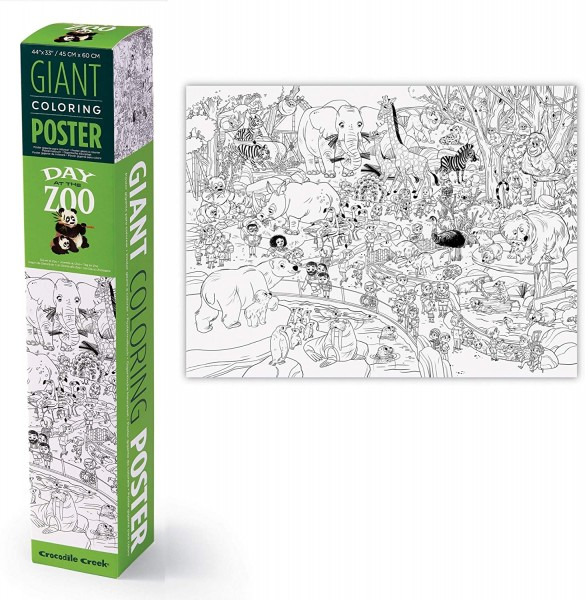 Crocodile Creek Giant Coloring Poster - Day at the Zoo