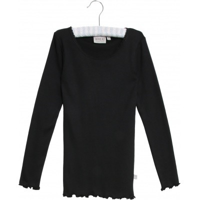 Wheat Basic langarm Shirt in schwarz