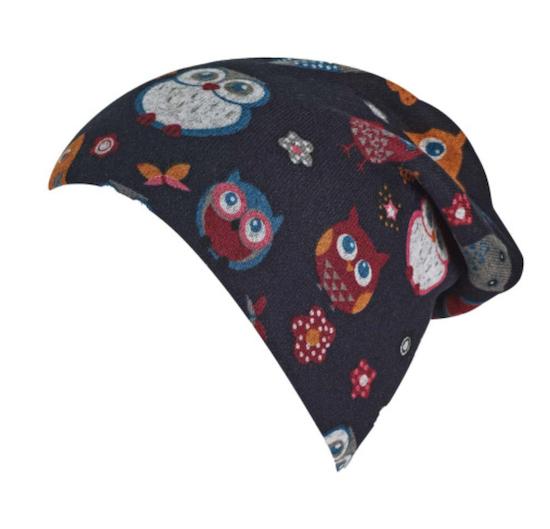 Sterntaler Slouch Beanie Mütze in Marineblau mit Eulen