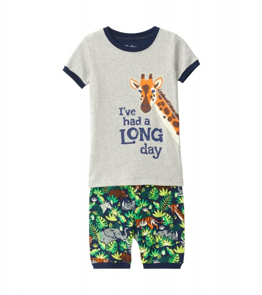 Hatley Kurzarm Pyjama - Bio Baumwolle - Dschungel Safari