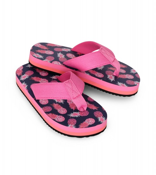 Hatley Party Pineapples Flip Flops - Navy & Pink Ananas