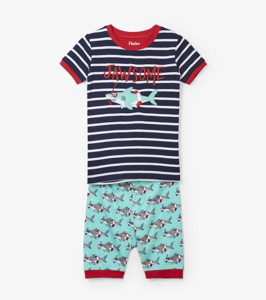 Hatley Kurzarm Pyjama - Hai Jawsome - GOTS Bio Baumwolle